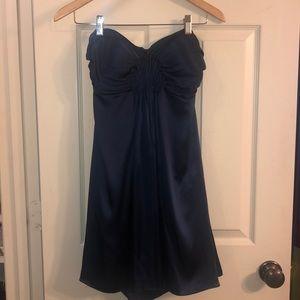 Silk Navy Blue Cocktail Dress